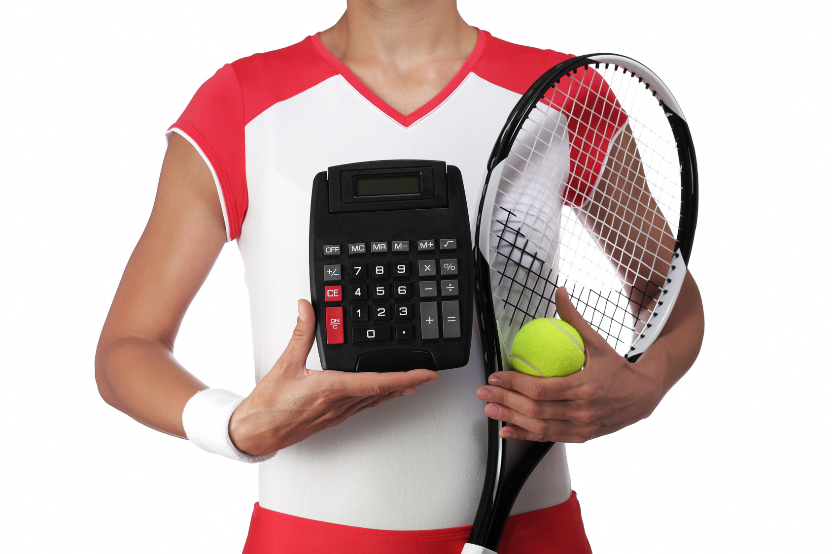 female tennis player holding a calculator